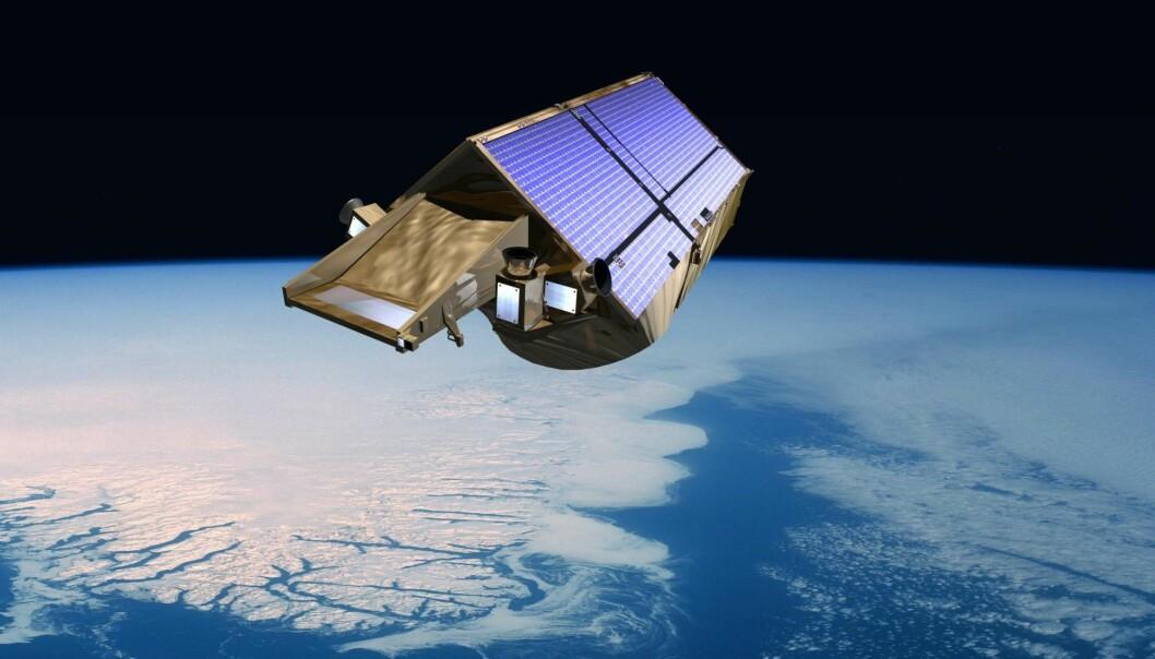 Forskningssatelliten CryoSat måler verdens ismasser. Takket være en ny metode kan satellitten vise hvor mye is breene i Sør-Amerika har mistet. (Illustrasjon: ESA)