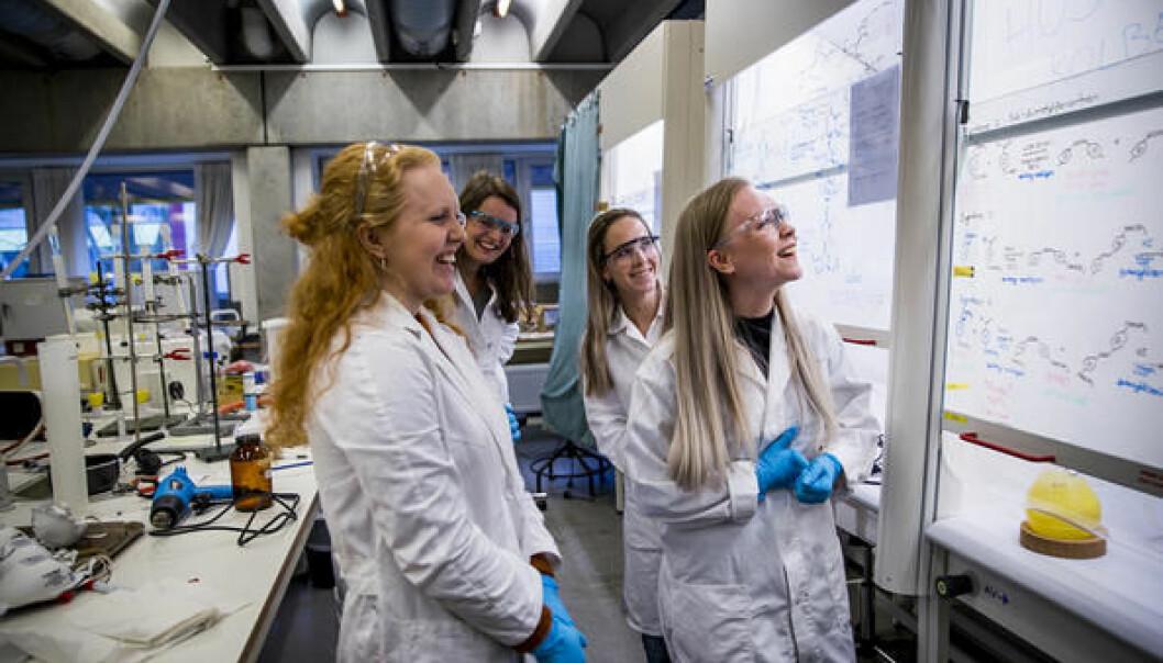 Studenter fra Universitetet i Stavanger bidrar i prosjektet. Fra venstre: Kristine Heggernes Åstveit, Julie Vastveit, Tone Madelen Amundsen og Benedicte Hide. (Foto: UiS)