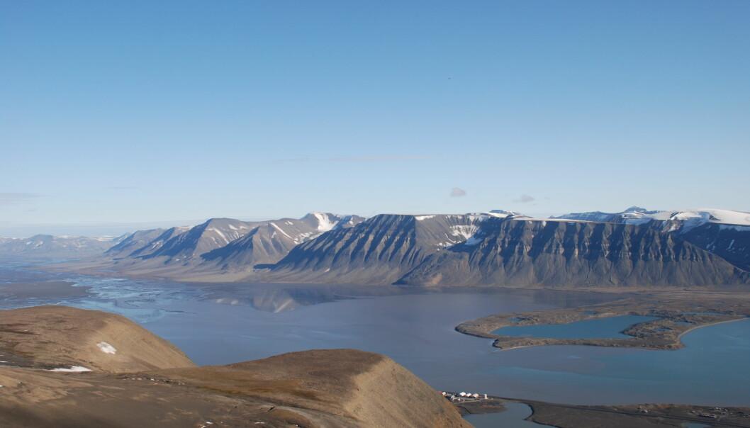 For 600 år siden rykket Paulabreen voldsomt fram gjennom Rindersbukta og stengte av indre deler av Van Mijenfjorden. Deretter trakk den seg mest sannsynlig tilbake bare etter et par år, viser nye undersøkelser. (Foto: Astrid Lyså / NGU)