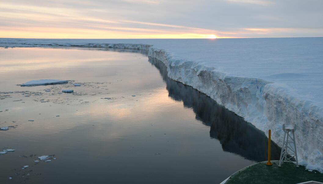 Her ser du Ekströmisen, en isbrem ved kysten av Dronning Mauds land i Antarktis.  (Foto: Svein Østerhus)