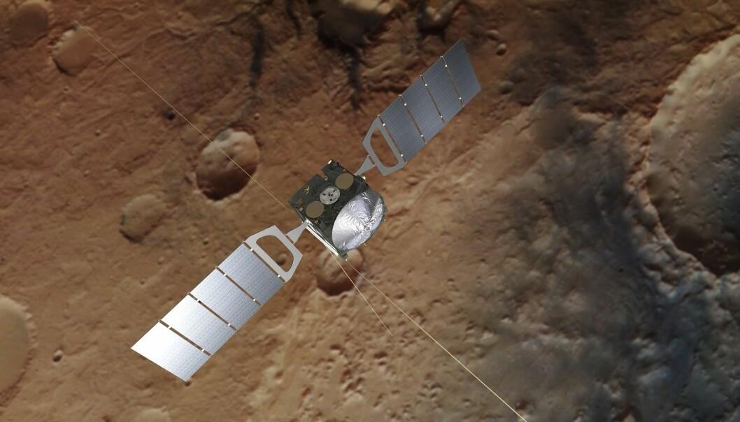 Mars Express har forsket i bane rundt vår røde naboplanet siden 2003. (Illustrasjon: ESA/ATG medialab/DLR/FU Berlin)