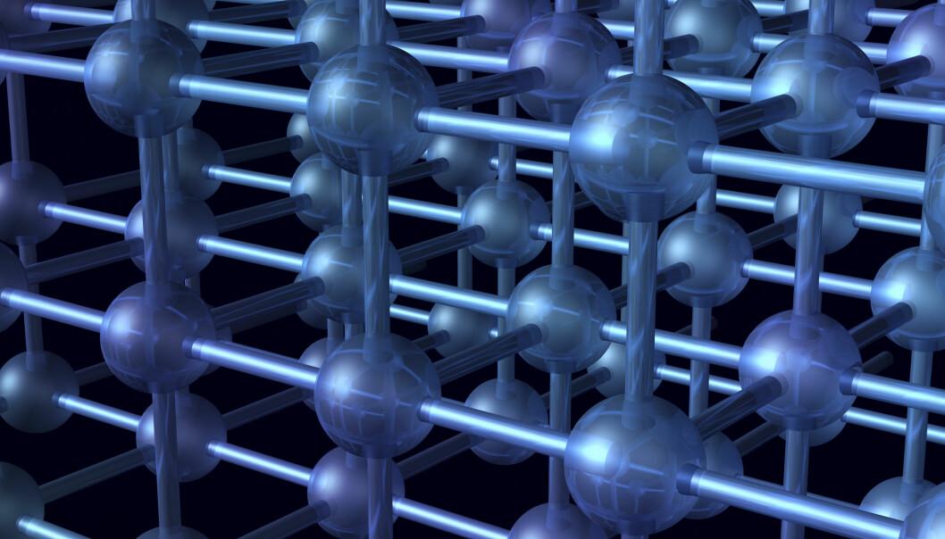 Stoffet forskerne har studert ser nesten ut som en diamant på atomnivå, men når de ser enda nærmere finner de et mer rotete system. Ujevnheter gir stoffet helt unike magnetiske egenskaper. (Illustrasjon: Hannu Viitanen/Colourbox)
