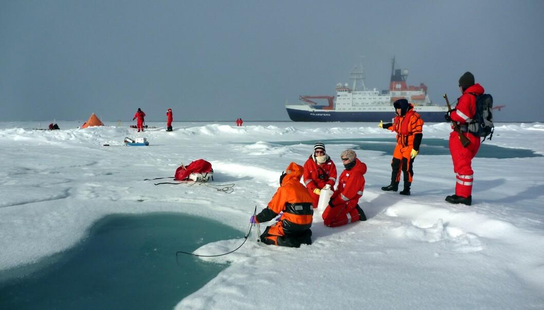 De tyske forskerne tar isprøver i Arktis.  (Foto: Alfred Wegener Institute/ M.Fernandez)