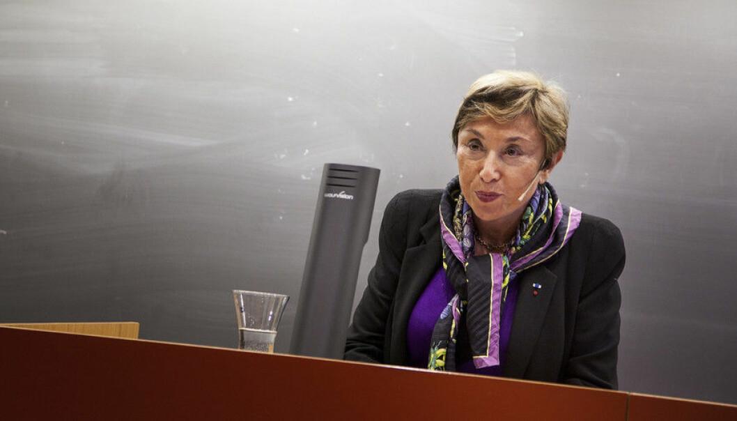 Julia Kristeva holdt foredrag for en fullsatt sal under Holbergseminaret i 2014, ti år etter at hun som den første mottok Holbergprisen. (Foto: Ingvild Festervoll Melien)