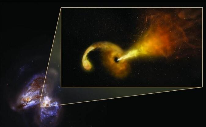 Til venstre et bilde som romteleskopet Hubble har tatt av Arp 299 – et par kolliderende galakser. Til høyre en kunstners fortolkning av hvordan det sorte hullet i Arp 299 fortærer en stjerne og spytter ut en strøm av stjernemateriale. (Illustraion: Sophia Dagnello, NRAO/AUI/NSF; NASA, STSCI)
