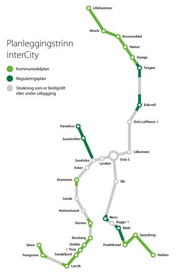 Her er planene for InterCity. (Illustrasjon: Bane Nor)