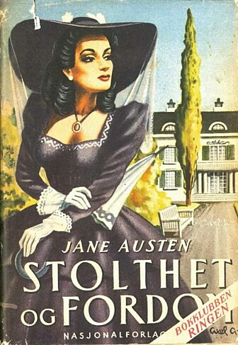 Coveret på oversettelsen fra 1947 viser tydelig hvordan forlag og oversettere også var inspirert av populære Hollywood-filmer. Dette ligner på den første Austen-filmen fra 1940, men ligner lite på Austens egen tid og sted. (Foto: Marie N. Sørbø)