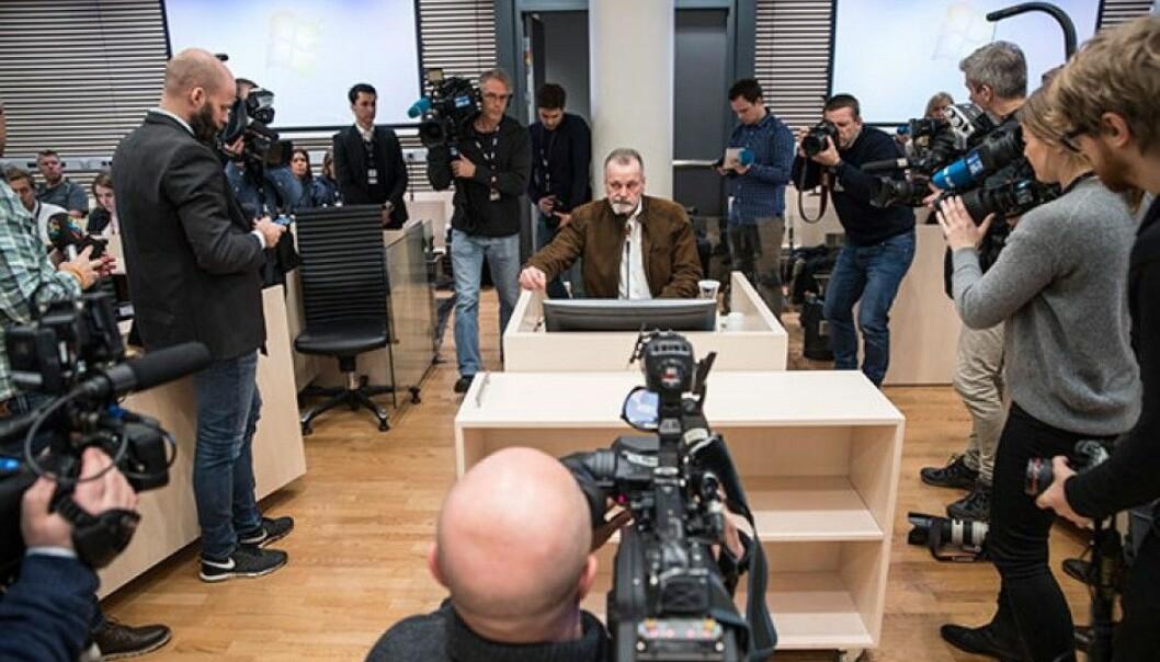 I Oslo tingrett fekk tidlegare politimann Eirik Jensen 21 år vilkårslaus fengsel for grov korrupsjon, medverknad til smugling av narkotika og ulovleg eige av våpen. (Foto: Tore Kristiansen / VG / NTB scanpix)