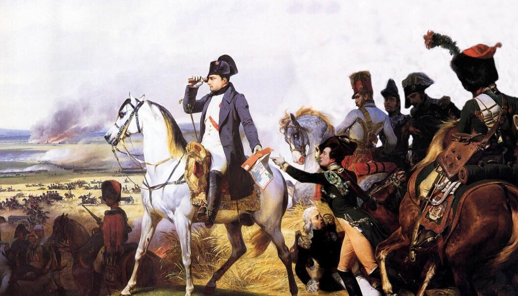 Forskere har funnet at ledere ofte har en bestemt genvariant for ledelse, som gjør at de er mer besluttsomme og har høy gjennomføringsevne. Her er Napoleon Bonaparte ved slaget om Wagram i 1809. Napoleon regnes som en av historiens sterkeste ledere. (Illustrasjon: Horace Vernet)