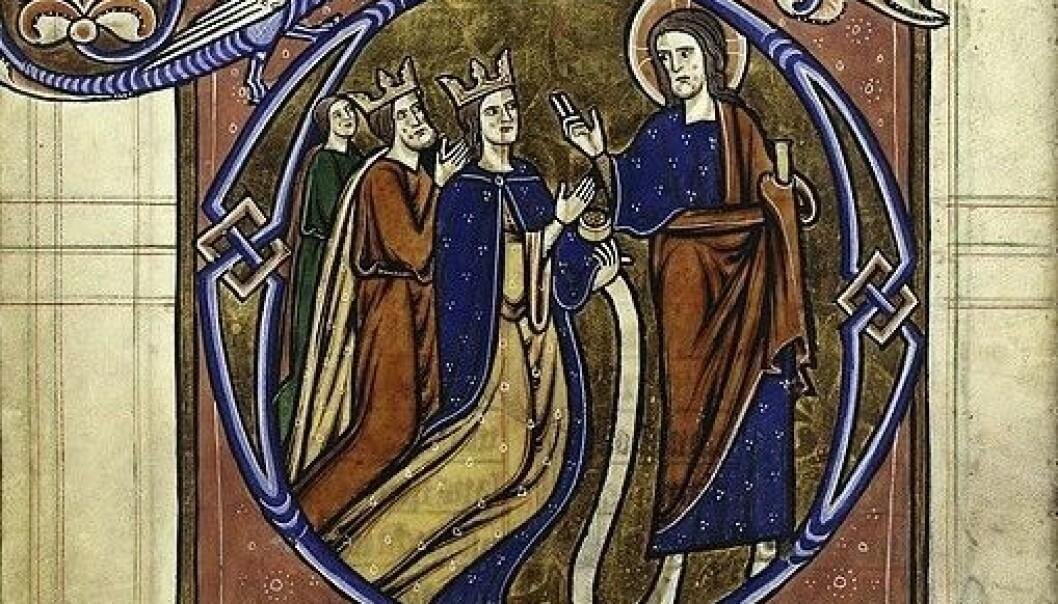 Kongen og dronningen fra Margrete Skulesdatters psalter, en rikt illustrert engelsk andaktsbok som kom til Norge midt på 1200-tallet. (Illustrasjonsfoto: Wikimedia Commons)