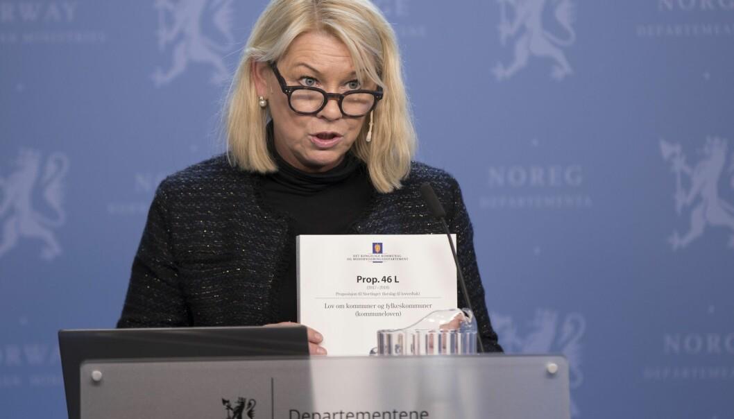 Kommunal- og moderniseringsminister Monica Mæland (H) sier det ikke er behov for å gjennomføre en nasjonal høring i forbindelse med innføringen av nye navn på flere av framtidens fylker. (Foto: Vidar Ruud, NTB scanpix)