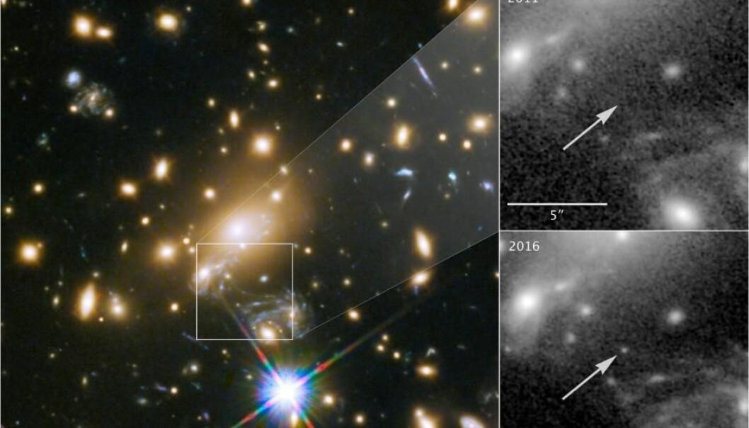 Øverst til høyre et bilde fra 2011, der Icarus ikke er synlig. Det nederste bildet er tatt i 2016, da Icarus har blitt synlig.  (Foto: NASA, ESA, Patrick Kelly/University of Minnesota)