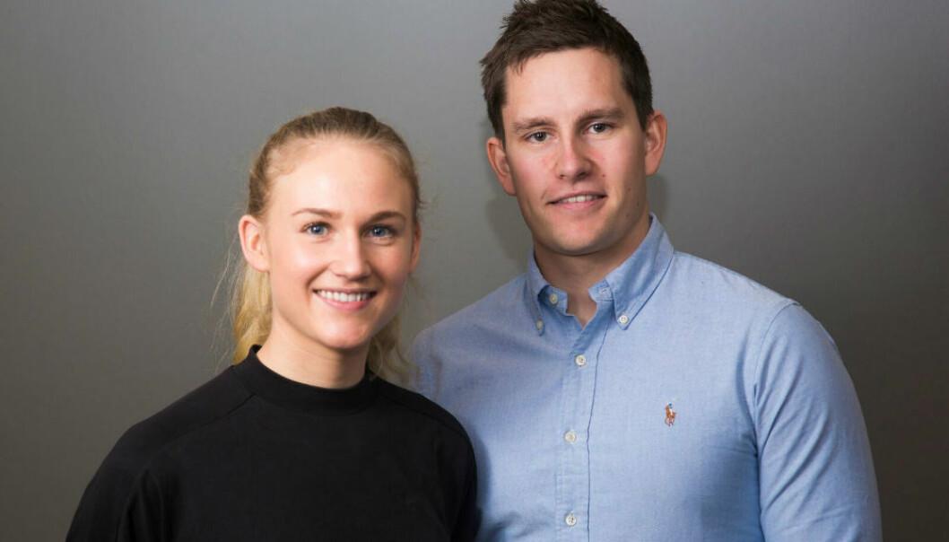Solveig Christensen og Bendik Fon står bak prosjektet Exero, hvor de skal lage et hjelpemiddel for at personer med nedsatt funksjonsevne kan holde seg i aktivitet. (Foto: Forskningsrådet)