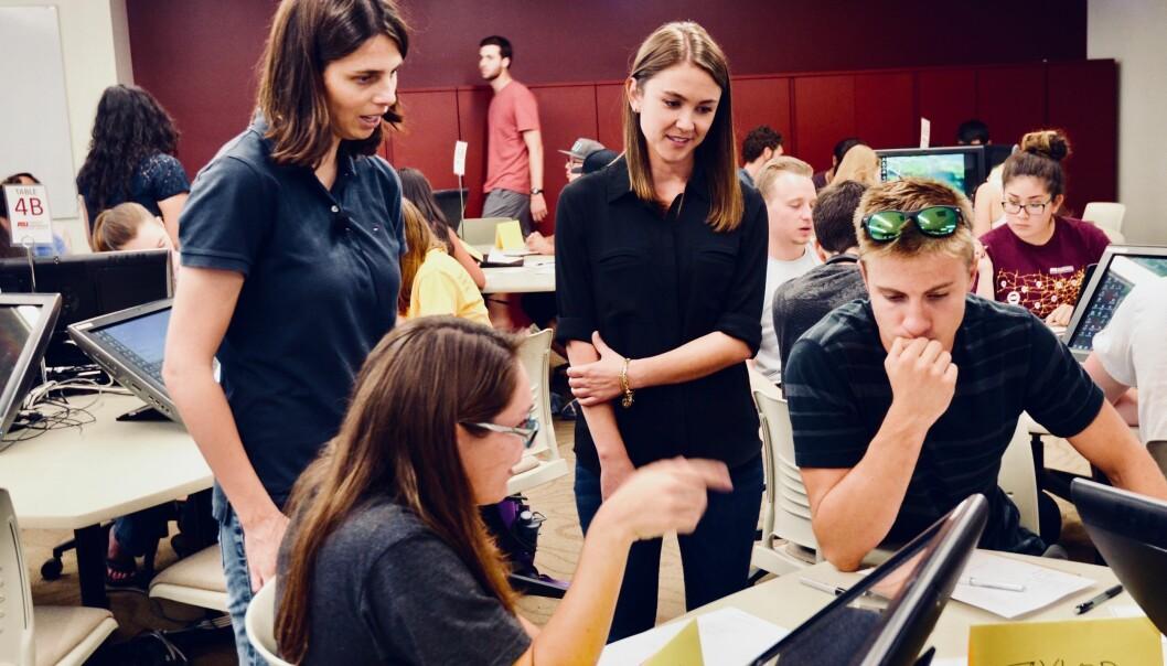 Studentene i undersøkelsen som hadde størst tro på seg selv, mente også at de var mer aktive i gruppearbeid. De som trodde at de var dummere enn samarbeidspartneren, sa at de deltok mindre. (Foto: Sandra Leander/ASU)
