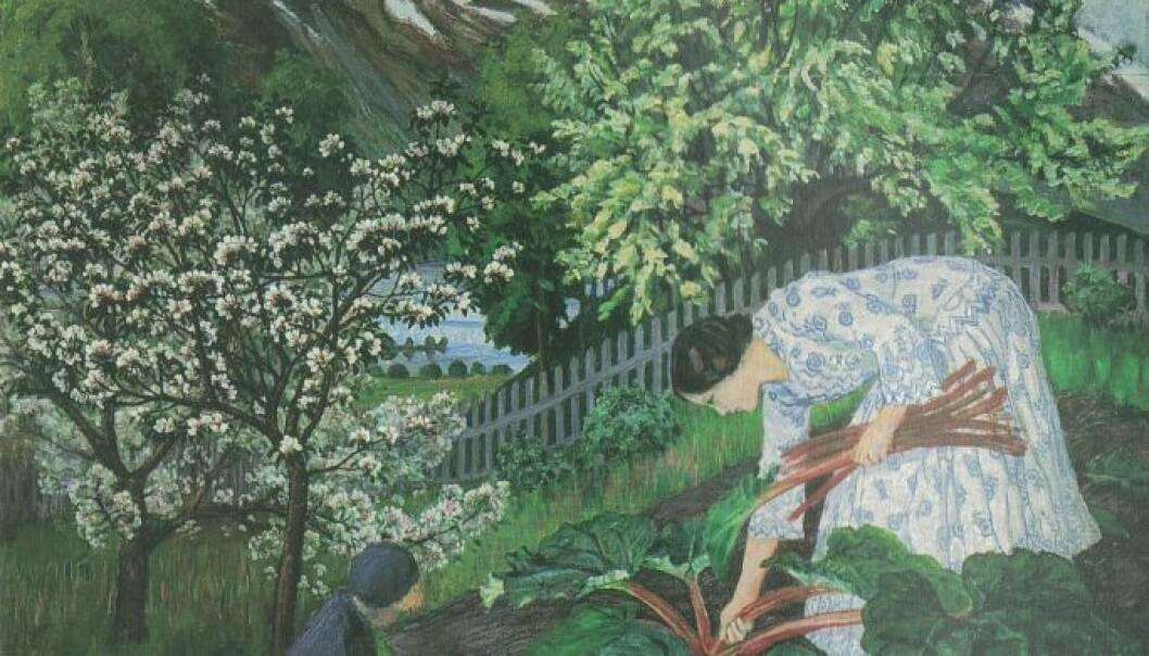 Rabarbra er et av de mest kjente Astrup-malerier fra hagen i Jølster. (Bilde: Nikolai Astrup / Wikimedia commons)