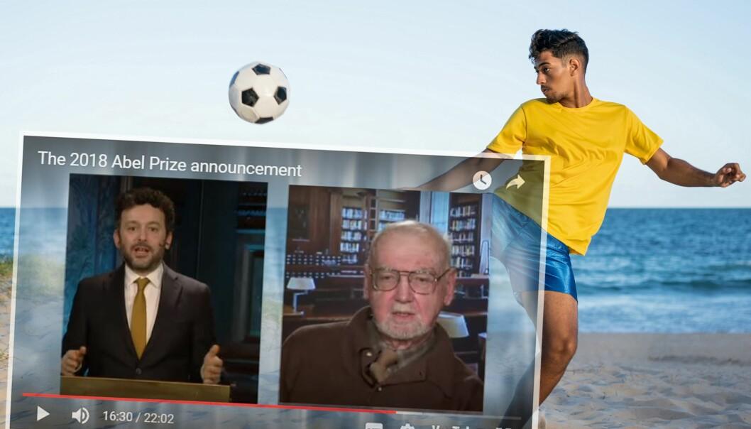 Til venstre: Alex Bellos, forfatter av en nydelig bok om brasiliansk fotball. I midten: Robert Langlands, Abelpris-vinner for å forbinde representasjonsteori og tallteori. I bakgrunnen: Brasiliansk fotball. (Illustrasjon: Skjermdump fra abelprisen.no. Foto: Colourbox. Montasje: Eivind Torgersen)