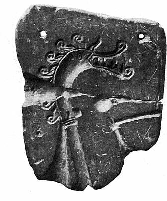 Støpeformen som ble funnet i 1887. (Bilde: Kalmring et al/Antiquity/Arbman 1939: 123)