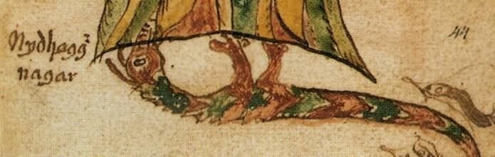 Udyret Nidhogg tygger på røttene til verdenstreet Yggdrasil. Nidhogg blir omtalt som både orm og dragelignende. (Bilde: Islandsk manuskript)