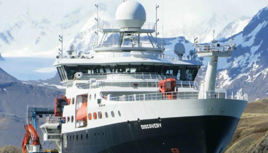 Forskere reiste ut med forskningsskipet RSS Discovery for å sjekke om satellittmålinger fra ulike havområder faktisk stemmer med målinger gjort på stedet. (Foto: PML)