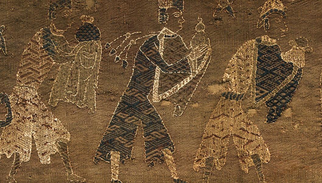Utsnittet viser de tre vise menn, Kaspar, Melkior og Baltazar, som kommer for å hylle Jesusbarnet med gull, røkelse og myrra. (Foto: Idun Haugan / NTNU Vitenskapsmuseet)