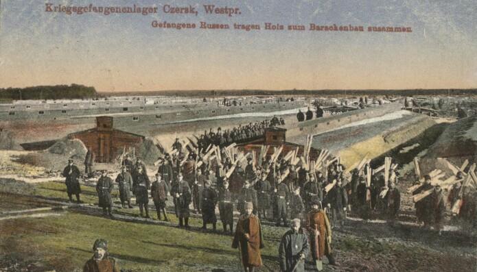 Et bilde av fangeleieren i Czersk på et postkort fra første verdenskrig. (Bilde: Kobialka/Antiquity)