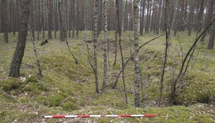 Noen grøfter er det som er igjen av leieren i dag. (Bilde: Kobialka/Antiquity)