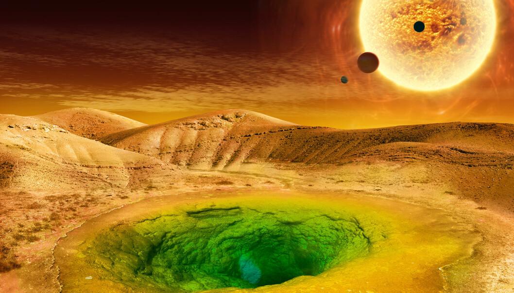 Hvem vet hvordan livet på en annen planet kan se ut. Kanskje sånn? (Illustrasjon: NASA)