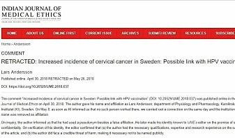 Denne artikkelen som handlet om at HPV-vaksinen kan være skyldig i økt forekomst av livmorhalskreft i visse deler av Sverige, er trukket tilbake. (Skjermdump fra Indian Journal of Medical Ethics)