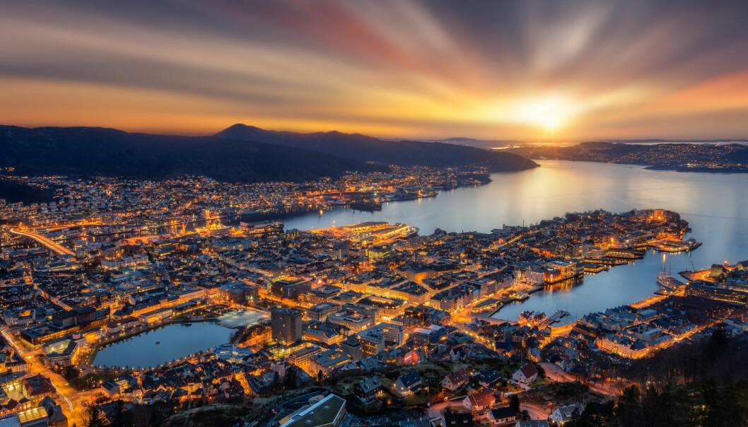 Forskere har sett på hvordan det går med miljøet i fjordene på Vestlandet. Her ser du Byfjorden, som går helt inn til sentrum av Bergen. (Foto: Shutterstock / NTB scanpix)
