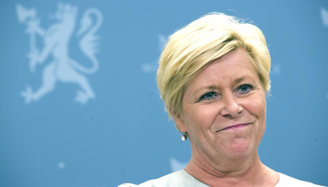 På tross av at ordningen er blitt misbrukt, kommer finansminister Siv Jensen (Frp) trolig til å videreføre skattefunn-ordningen. (Foto: Terje Pedersen / NTB scanpix)
