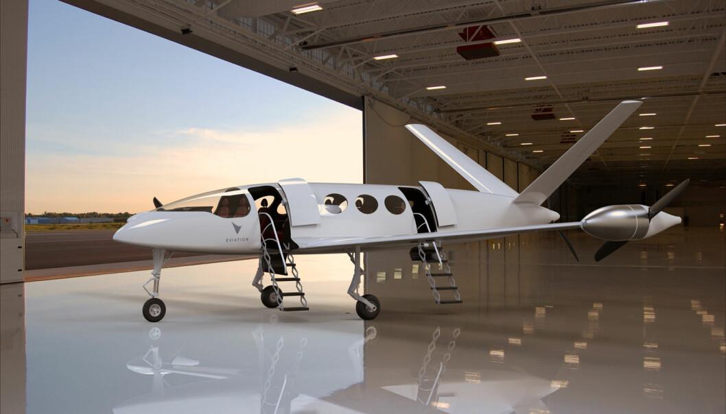 El-flyet Eviation Alice skal ifølge planene få et vingespenn på 13,5 meter og fly i  3000 meters høyde. Skroget er laget av karbonkompositt-materiale. (Illustrasjon: www.eviation.co)