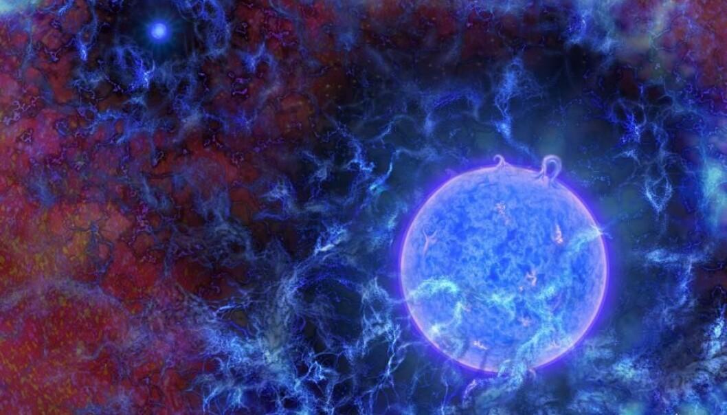 De første stjernene var sannsynligvis blå superkjemper. De sørget for at det kom lys i universet, og de påvirket bakgrunnsstrålingen.  (Illustrasjon: N.R.Fuller/National Science Foundation)
