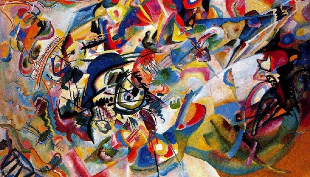 Den russisk-franske maleren Vasilij Kandinskij (1866-1944) hadde synestesi, og han prøvde å male hans egne opplevelser når han hørte musikk. Dette er bildet Komposisjon 7. (Bilde: Vasilij Kandinskij)