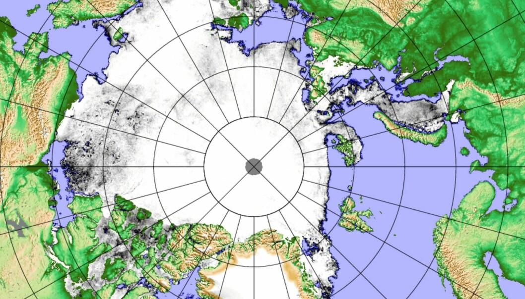 Iskart 1. juli basert på data fra det japanske satellitt-instrumentet AMSR2. (Bilde: Univ Bremen/PolarView)