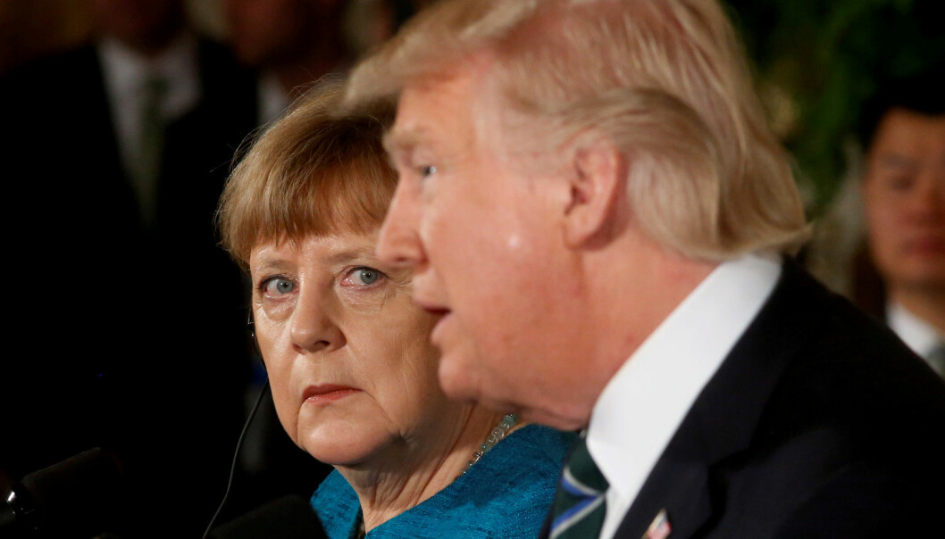 Tysklands forbundskansler Angela Merkel og USAs president Donald Trump møttes i Det hvite hus i Washington, D.C. i mars i fjor. (Foto: Jonathan Ernst/Reuters/NTB scanpix)