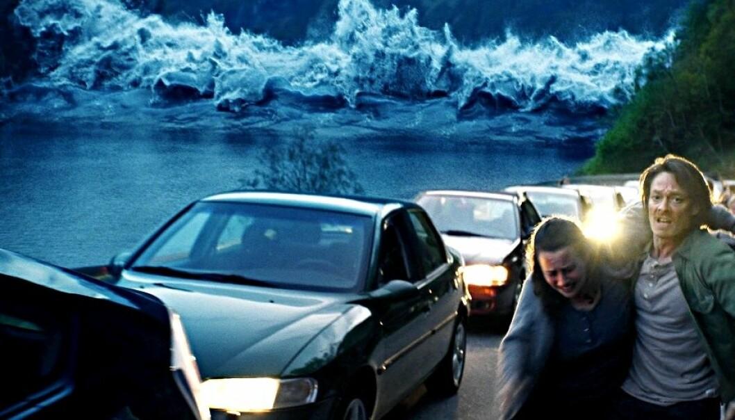 Den norske katastrofefilmen «Bølgen» fra 2012 tok for seg noe som kan bli en realitet. Raser hele fjellpartiet Åkneset vil en bølge på 70 meter kunne ramme tettstedet Geiranger. Hellesylt kan bli truffet av en 85 meter høy bølge.  (Foto/Copyright: Fantefilm Fiksjon)