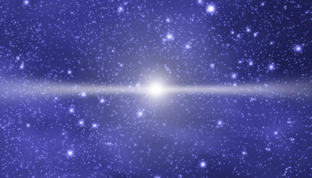Når to nøytronstjerner kolliderer, blir tettheten av nøytroner enorm. I dette miljøet dannes tunge grunnstoffer ved at en atomkjerne fanger inn nøytroner som igjen omdannes til protoner. (Illustrasjonsfoto: Shutterstock / NTB Scanpix)