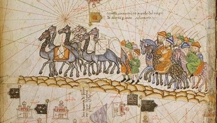 En karavane som reiser langs silkeveien rundt år 1380. Illustrasjonen er fra det Katalanske Atlaset. (Bilde: Offentlig eiendom)