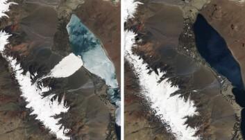 En tredel av en isbre i Aru-fjell i Tibet forsvant i et voldsomt skred i juli 2016. Satelittbilder viser isbreen før (til høyre) og etter skredet (til venstre). Bare to måneder senere raste enda en isbre bare et par kilometer fra.  (Foto: NASA Earth Observatory via The New York Times)