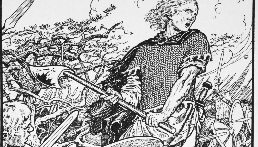 Illutrasjon av Kong Alfred som kjemper mot vikingene i 871. Illustrasjonen er fra en britisk historiebok fra 1913. Alfred, også kalt Alfred den store, ble senere den mektigste monarken i England etter at vikingene var slått.  (Bilde: Morris M. Williams/The Northmen in Britain by Eleanor Means Hull, published 1913)
