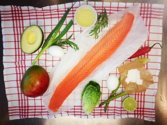 <b>Ingrediensene</b>: Dette er ingrediensene som brukes i retten. (Foto: Guro Helgesdotter Rognså)