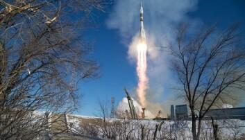 """Soyuz MS-07 rakett skyter til værs fra Baikonur Cosmodrome i Kasakhstan. Næringsminister Torbjørn Røe Isaksen (H) tilbakeviser at regjeringen henger etter når det gjelder norsk romvirksomhet. <p>(Illustrasjonsfoto: NASA med lisens: <a href=""""https://creativecommons.org/licenses/by-nc-nd/2.0/"""">CC BY-NC-ND 2.0</a>)</p>"""