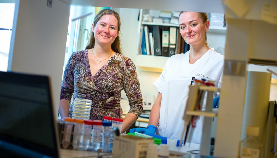 Forskerne Gunnveig Grødeland og Ane Marie Anderson har allerede testet den nye vaksinen på mus. (Foto: Øystein Horgmo)