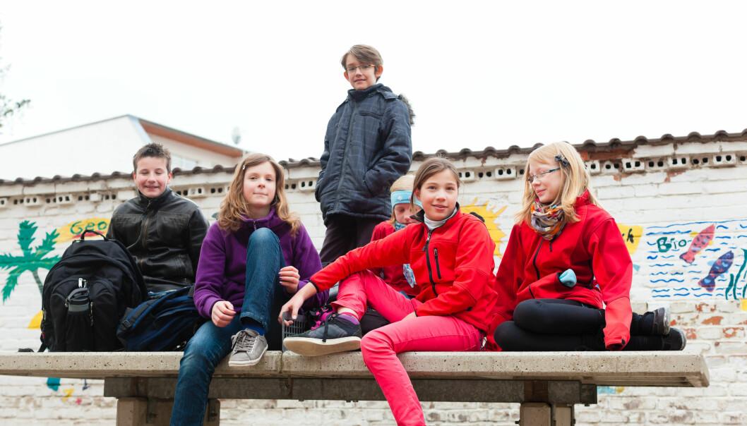En ungdomsskole med dårlig utemiljø der ungdommer står i gjenger og prater med hverandre, kan skremme ferske elever fra å leke fritt, ifølge ny studie. (Foto: Colourbox)