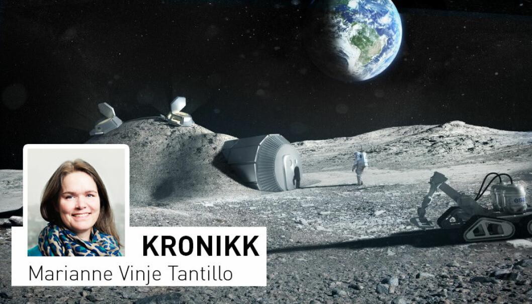 - Innen 2030 ser man for seg astronauter i arbeid på Månens overflate. Visjonen er en framtidig «Moon Village», men man må begynne i det små og sørge for å ha klar all teknologien som trengs, skriver Marianne Vinje Tantillo. (Illustrasjon: ESA/Foster + Partners)