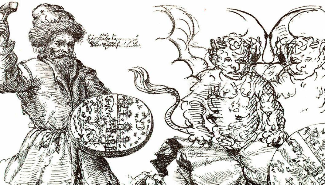 Runebommen er samisk redskap for å utøve magi. Her ser du en samisk noaide/sjaman med sin runebomme, tegnet av den svenske presten Samuel Rheen i 1671. (Illustrasjon: Samuel Rheen / NTNU UB)