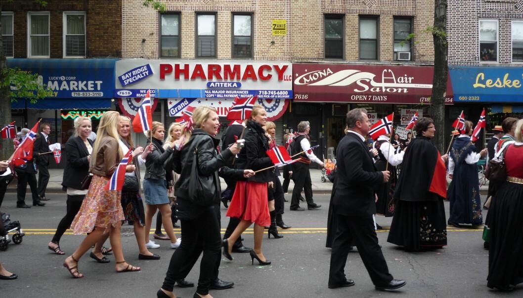 Slik ser det ut når norskamerikanere feirer 17. mai i Brooklyn i New York.  (Foto: Teri Tynes / CC BY-ND 2.0)