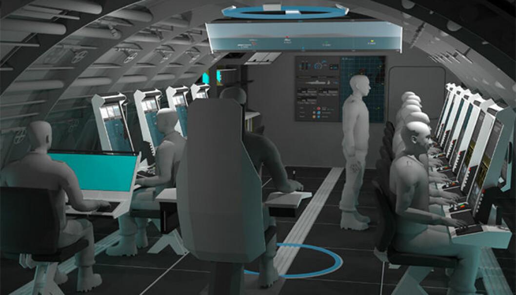Illustrasjonen viser hovedkonseptet det nå jobbes med for operasjonsrommet i de nye ubåtene Norge skal kjøpe inn.  (Illustrasjon: Halogen)