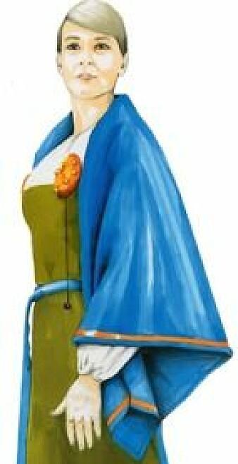 Slik kan vikingkvinnen i graven på Litle Eige ha sett ut i levende live. (Illustrasjon: Arkeologisk museum ved Universitetet i Stavanger)