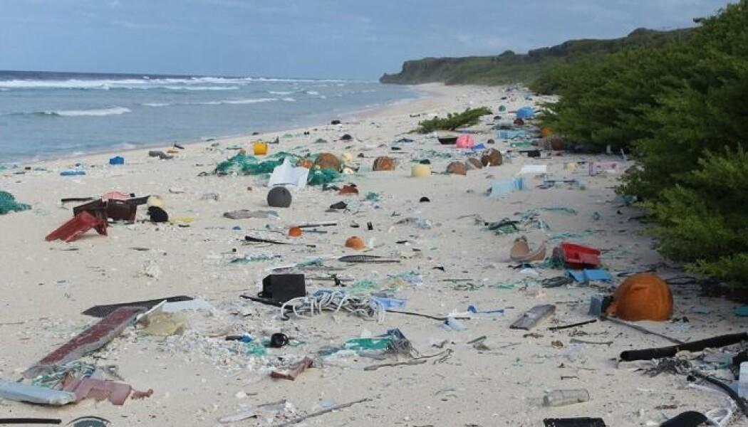 Henderson Island midt i Stillehavet har ingen innbyggere og er et av verdens mest avsidesliggende steder. Sjokkerte australske forskere kunne for kort tid tilbake slå fast at øya har mer plastsøppel på strendene enn det er funnet noe annet sted i verden. Forskerne fant i gjennomsnitt 671 plastbiter per kvadratmeter! Antakelig finnes det nesten 38 millioner biter og gjenstander av plast på den lille øya. Alt må ha blitt fraktet dit over havet. Men hvor kommer denne plasten fra? (Foto: Dr. Jennifer Lavers / Foreign & Commonwealth Office)